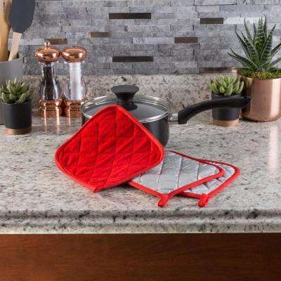 Quilted Cotton Red Heat Resistant Pot Holder Set (3-Pack)