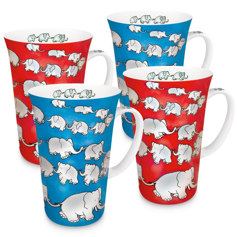 Konitz 4-Piece Assorted Chain of Elephants Red and Blue Porcelain Mega Mug Set