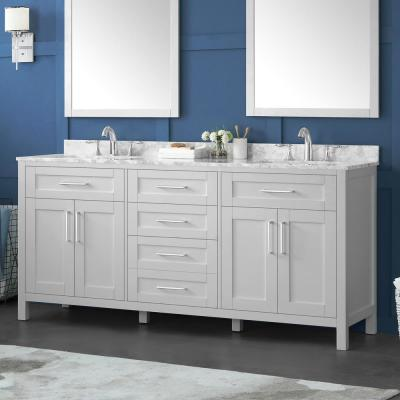 Riverdale 72 in. W x 21 in. D Vanity in Dove Grey with a Carrara Marble Vanity Top in White with White Basins