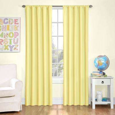 Kids Microfiber 63 in. L Polyester Curtain in Yellow