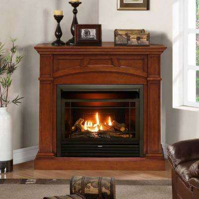 44 in. Ventless Dual Fuel Gas Fireplace in Heritage Cherry with Thermostat Control