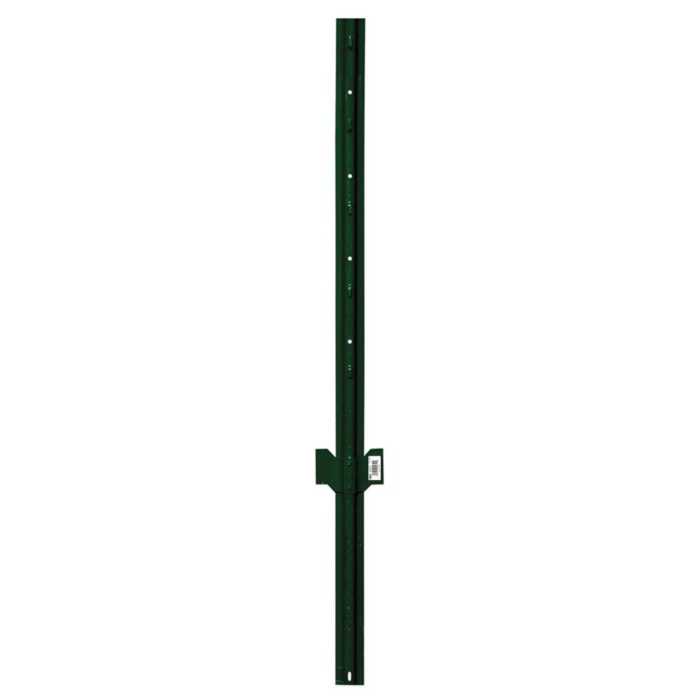 Everbilt 2-1/4 in. x 2-1/2 in. x 4 ft. Green Steel Fence U Post