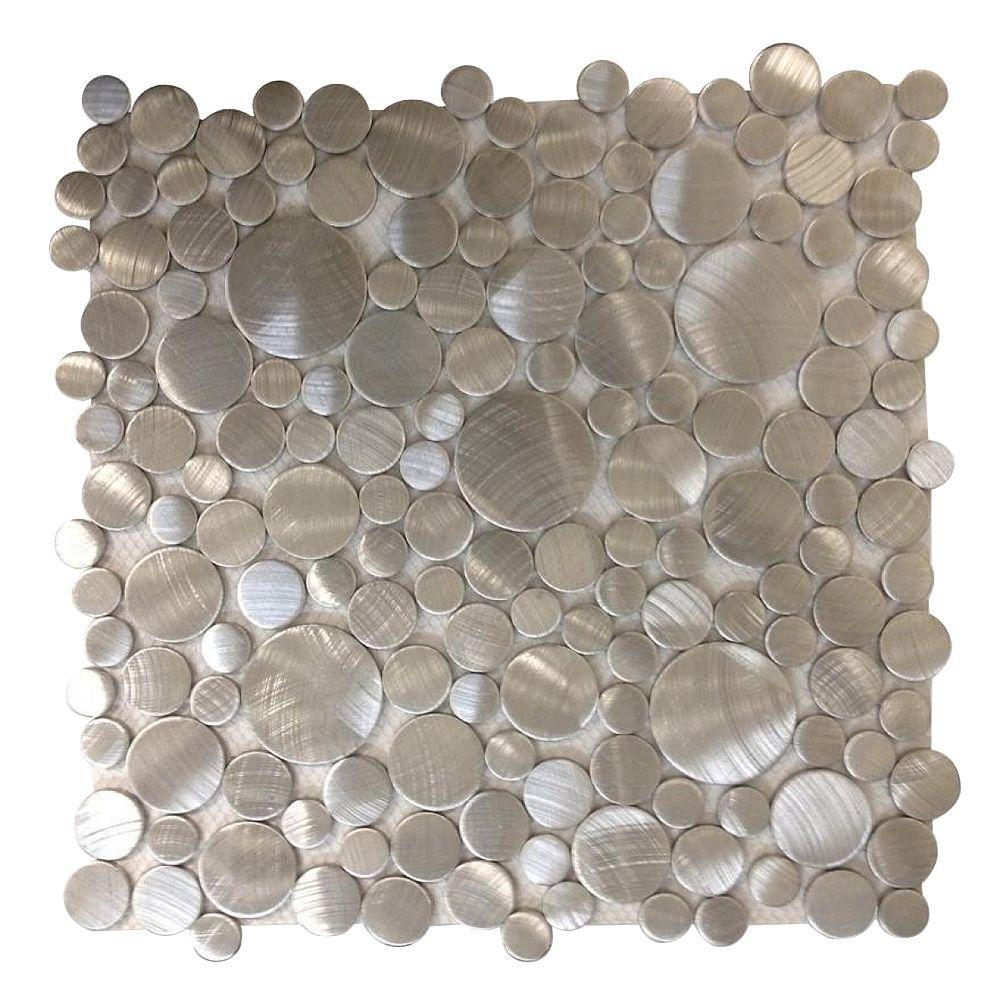 Urban Silver Bubbles 12 in. x 12 in. x 8 mm Metal Mosaic Tile