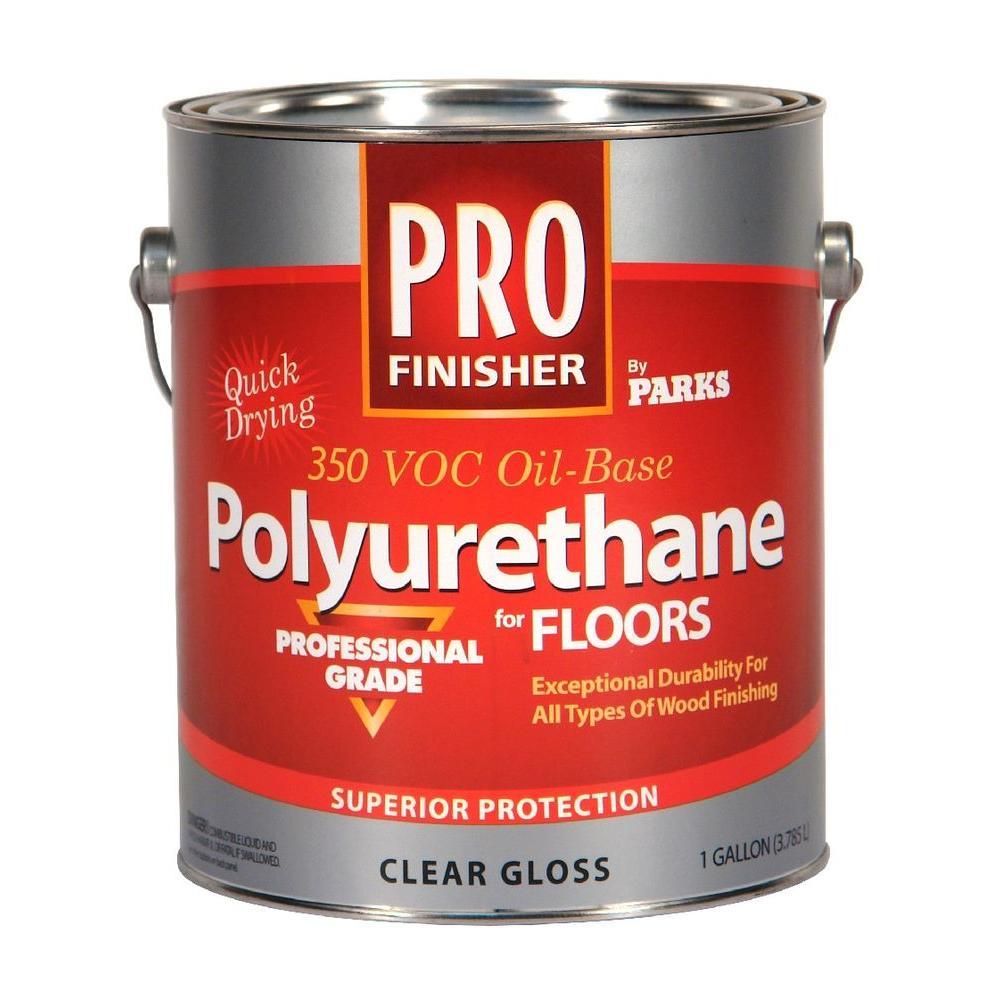 1 gal. Clear Gloss 350 VOC Oil-Based Interior Polyurethane for Floors (Case of 4)