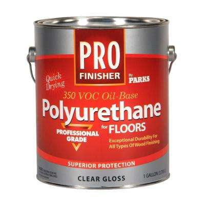 1 gal. Clear Gloss 350 VOC Oil-Based Interior Polyurethane for Floors (Case of 4)