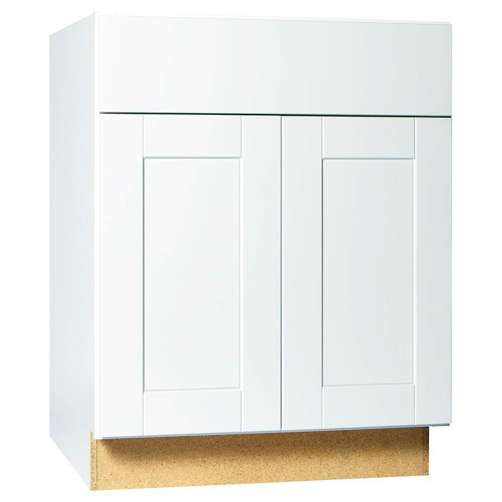 Hampton bay shaker assembled in base kitchen for Hampton bay white kitchen cabinets