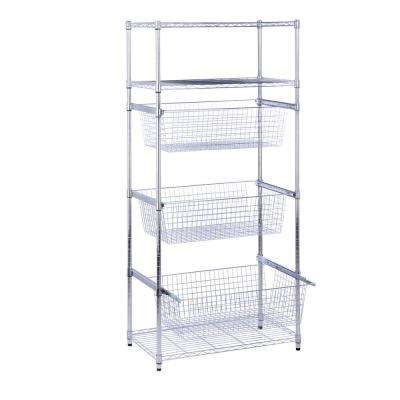 70.87 in. H x 35.43 in. W x 17.72 in. D 6-Tier Shelf, Steel Wheeled Sports Shelving in Chrome
