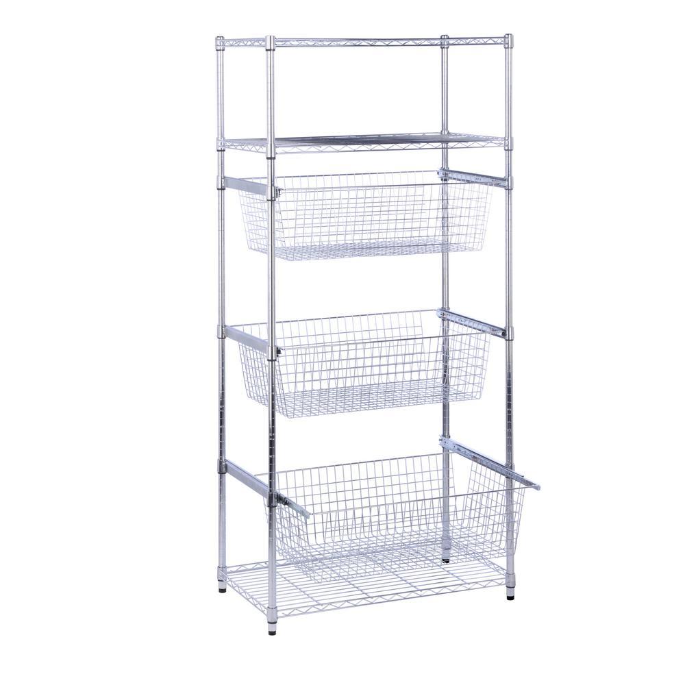 70.87 in. H x 35.43 in. W x 17.72 in. D 6-Tier Shelf, Steel Wheeled Sports Shelving in Chrome
