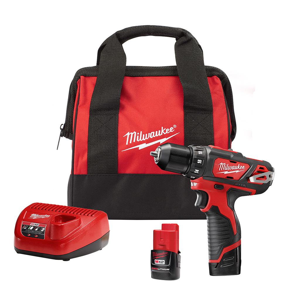 Milwaukee M12 12-Volt Lithium-Ion Cordless 3/8 in  Drill/Driver Kit with  Two 1 5 Ah Batteries, Charger and Tool Bag