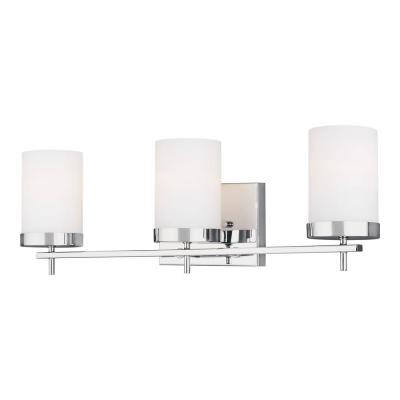 Zire 24 in. W 3-Light Chrome Vanity Light with Etched White Glass Shades with LED Bulbs