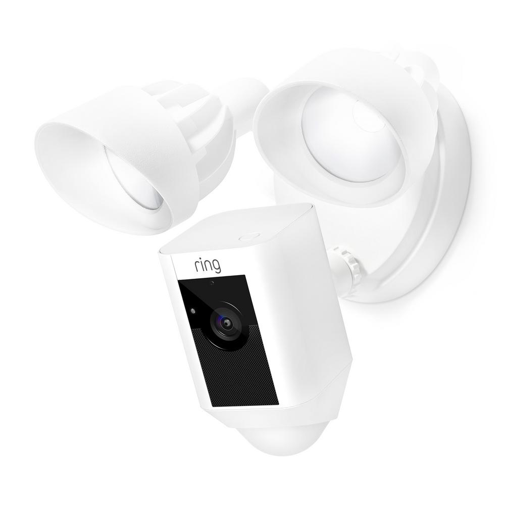 Outdoor Wi-Fi Cam with Motion Activated Floodlight, White