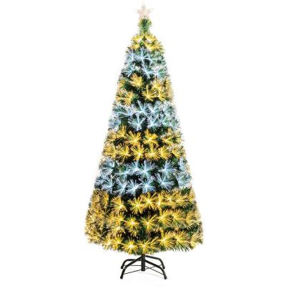 7 ft. Pre-Lit Fiber Optic Christmas Tree 8 Flash Modes PVC with Double-Color Lights