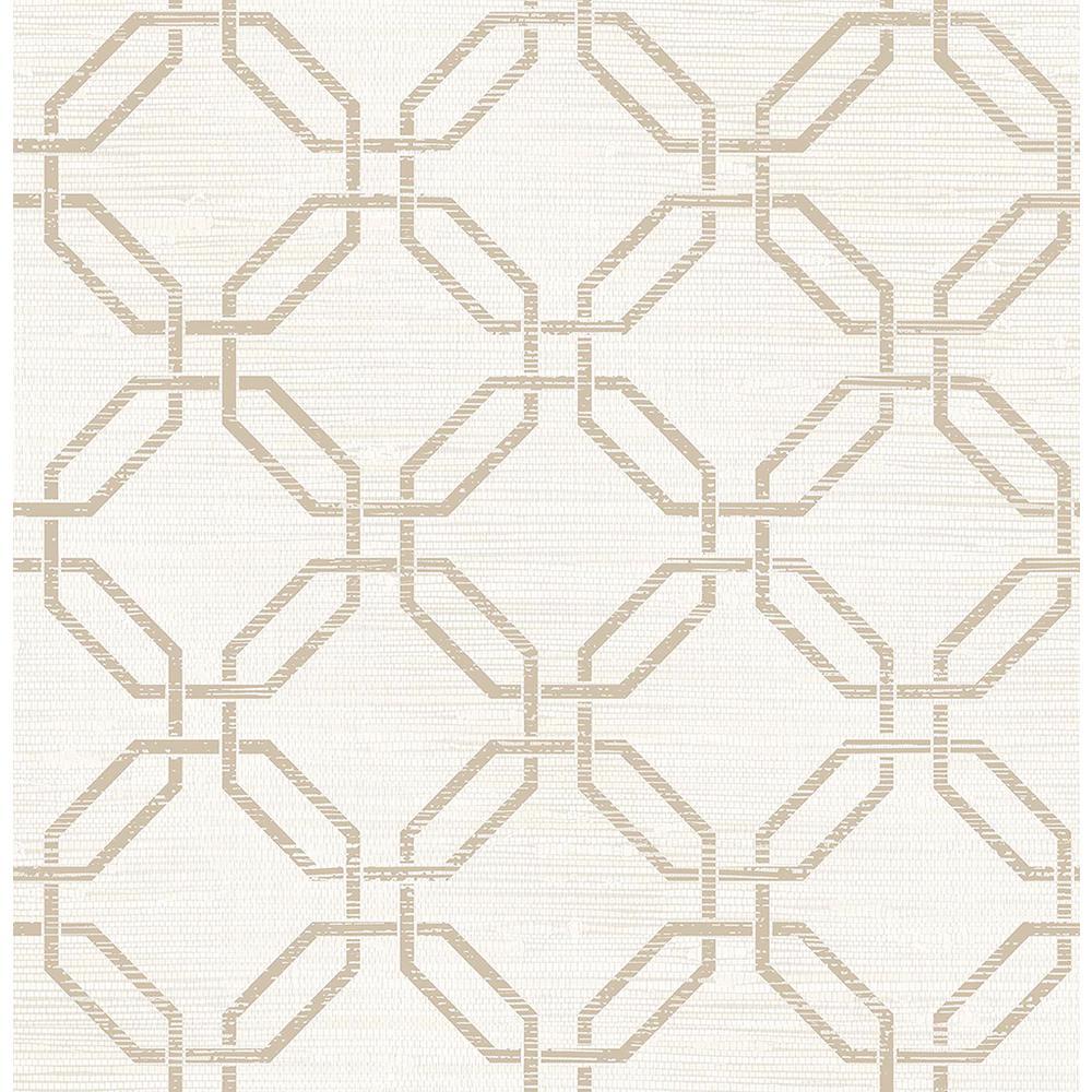 56.4 sq. ft. Phaius White Trellis Wallpaper