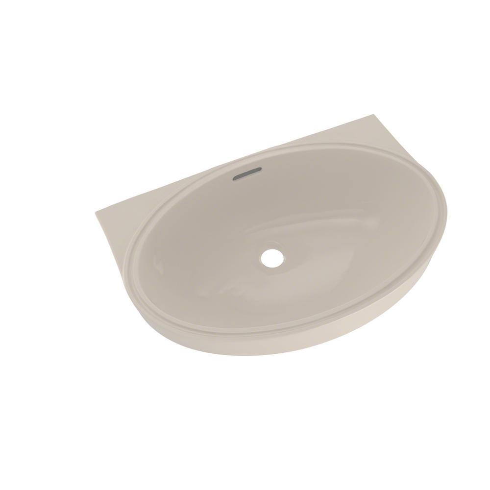 Toto 22 In Oval Undermount Bathroom Sink With Cefiontect In Sedona Beige Lt548g 12 The Home Depot