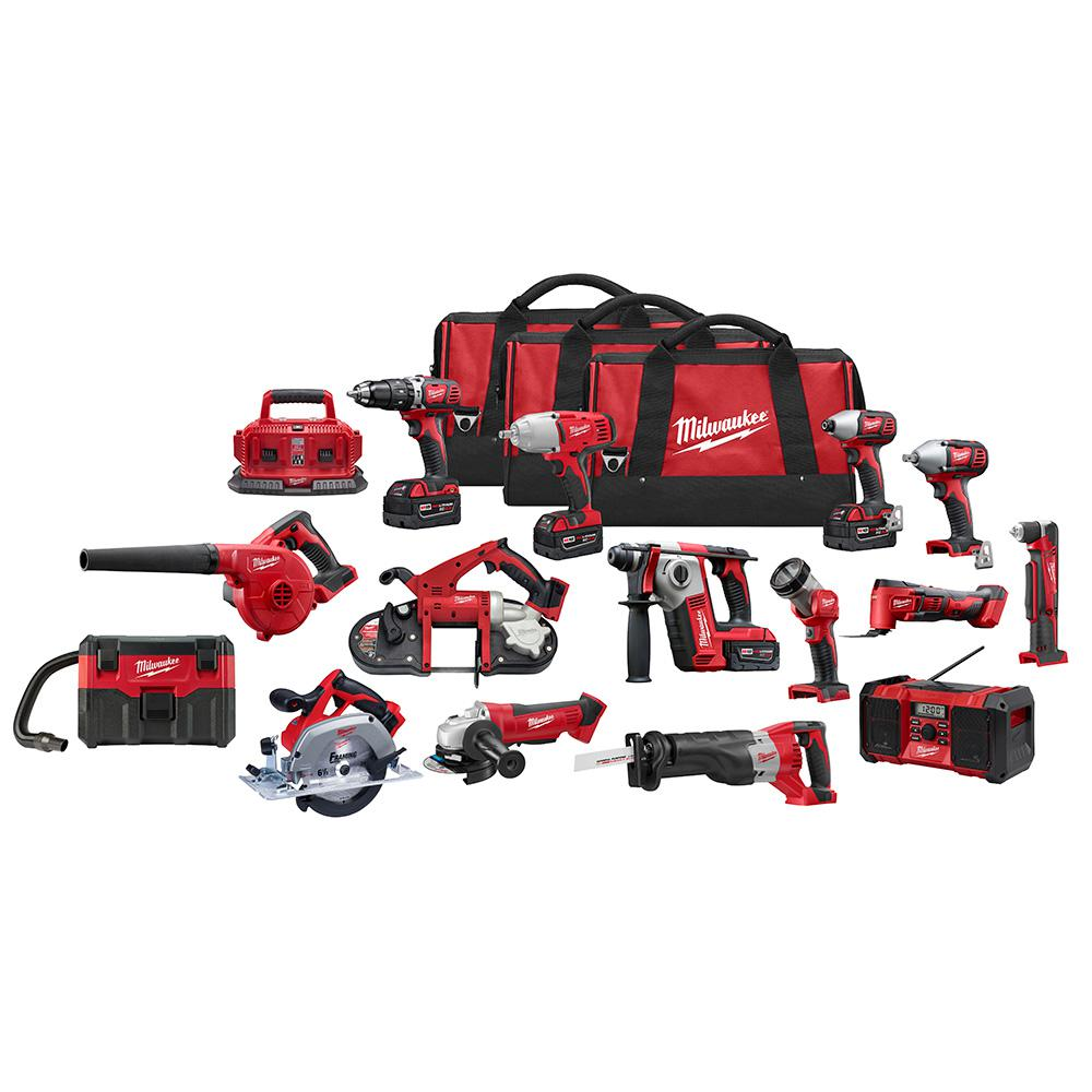 Milwaukee M18 18-Volt Lithium-Ion Cordless Combo Tool Kit (15-Tool) with Four 3.0 Ah Batteries, (1) Charger, (3) Tool Bag
