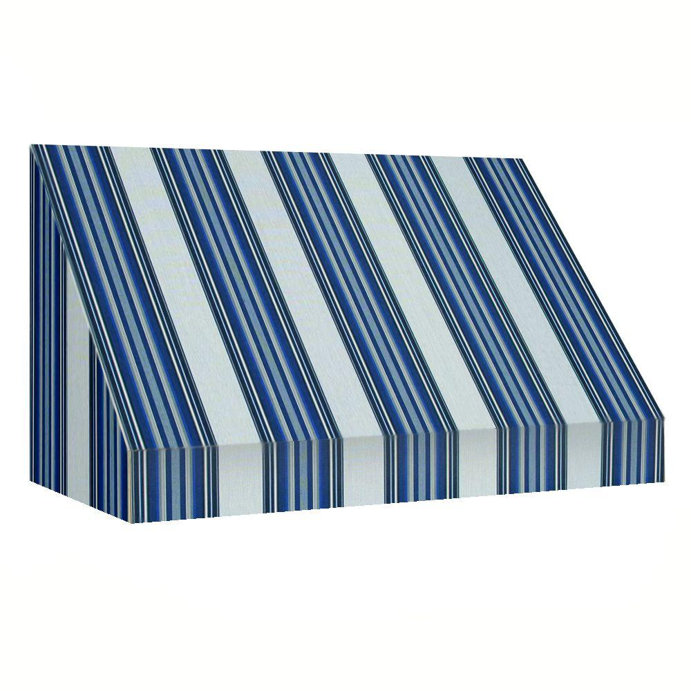 AWNTECH 14 ft. New Yorker Window/Entry Awning (56 in. H x 36 in. D) in Navy/Gray/White Stripe