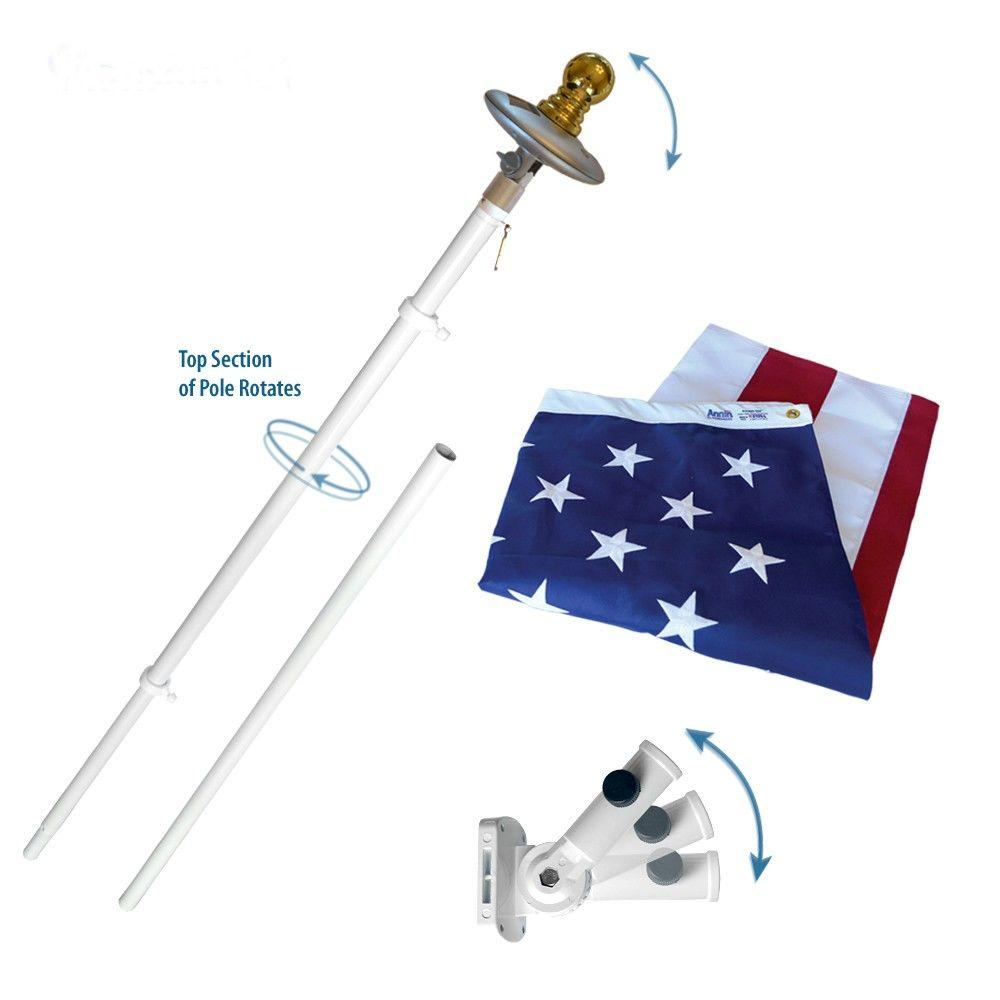 Annin Flagmakers Mansion 3 ft. x 5 ft. Nylon US Flag with 6 ft. Spinning Flagpole and Solar Light