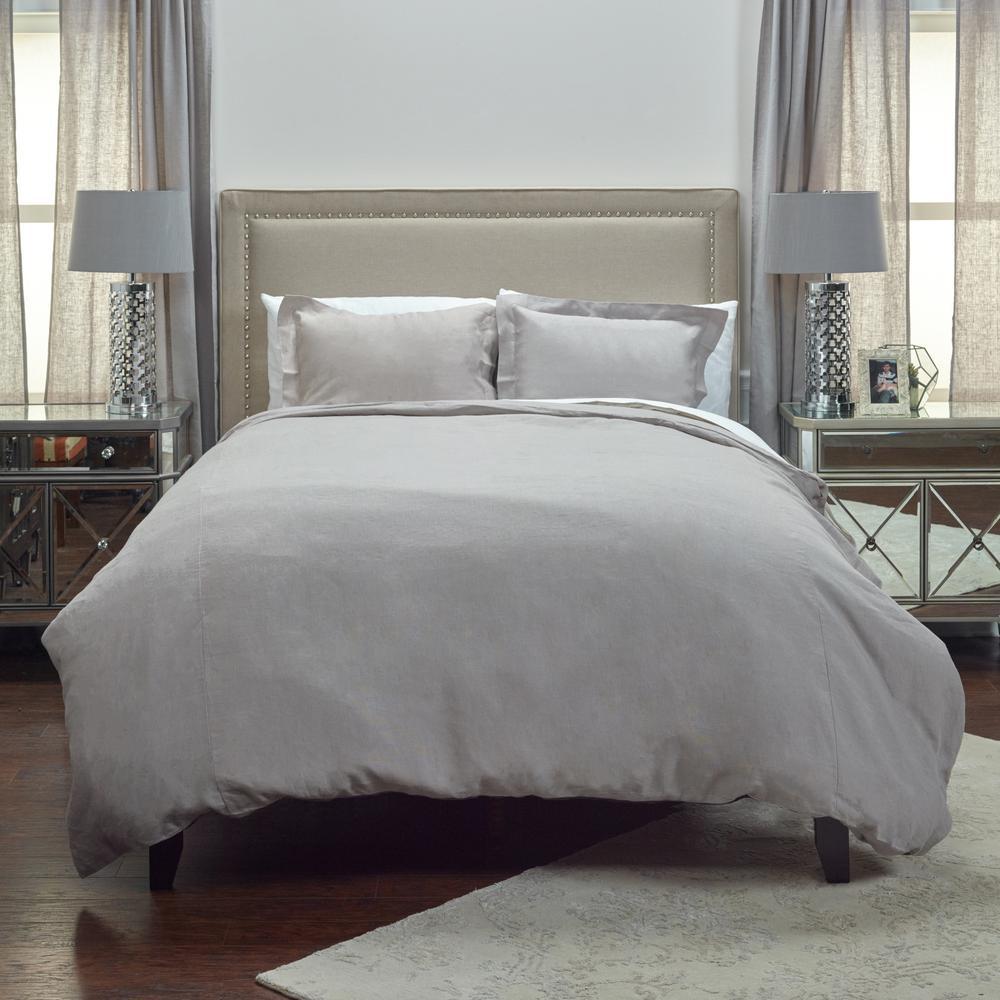 Silver Solid Pattern King Linen Duvet Bedding