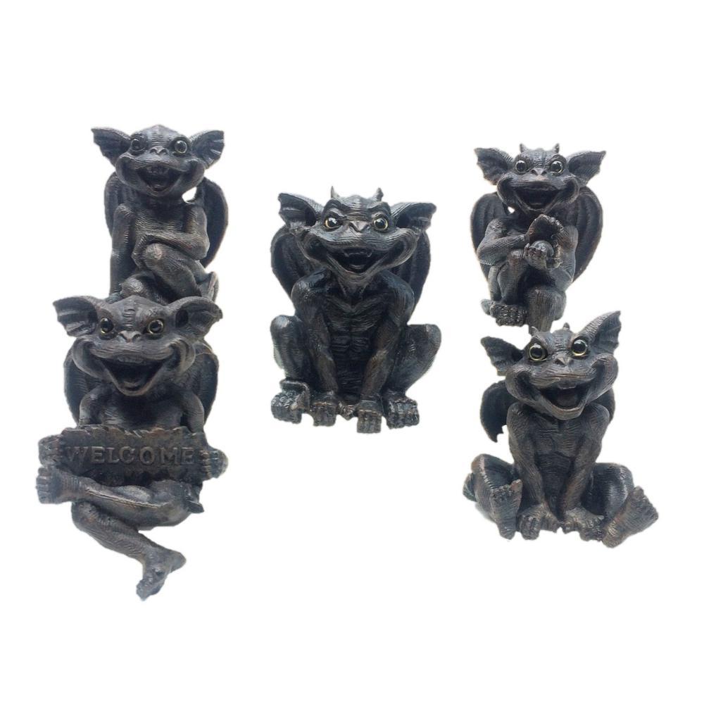 6 in. Gargoyle Shelf Sitter Gargiggle Family Assortment (5-Pack)