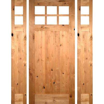 68.5 in. x 97.625 in. Craftsman 1 Panel 6-Lite Knotty Alder Unfinished Left-Hand Inswing Prehung Front Door w/Sidelites