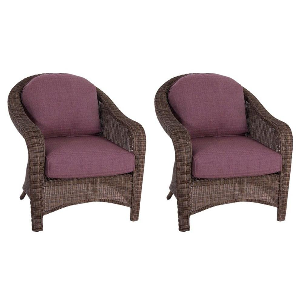 Hampton Bay Walnut Creek Patio Club Chair with Purple Cushions (2-Pack)-DISCONTINUED