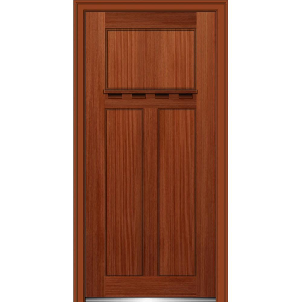 Mmi Door 32 In X 80 In Shaker Left Hand Craftsman 3 Panel Stained