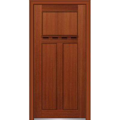 32 in. x 80 in. Shaker Left-Hand Craftsman 3-Panel Stained Fiberglass Fir Prehung Front Door with Dentil Shelf