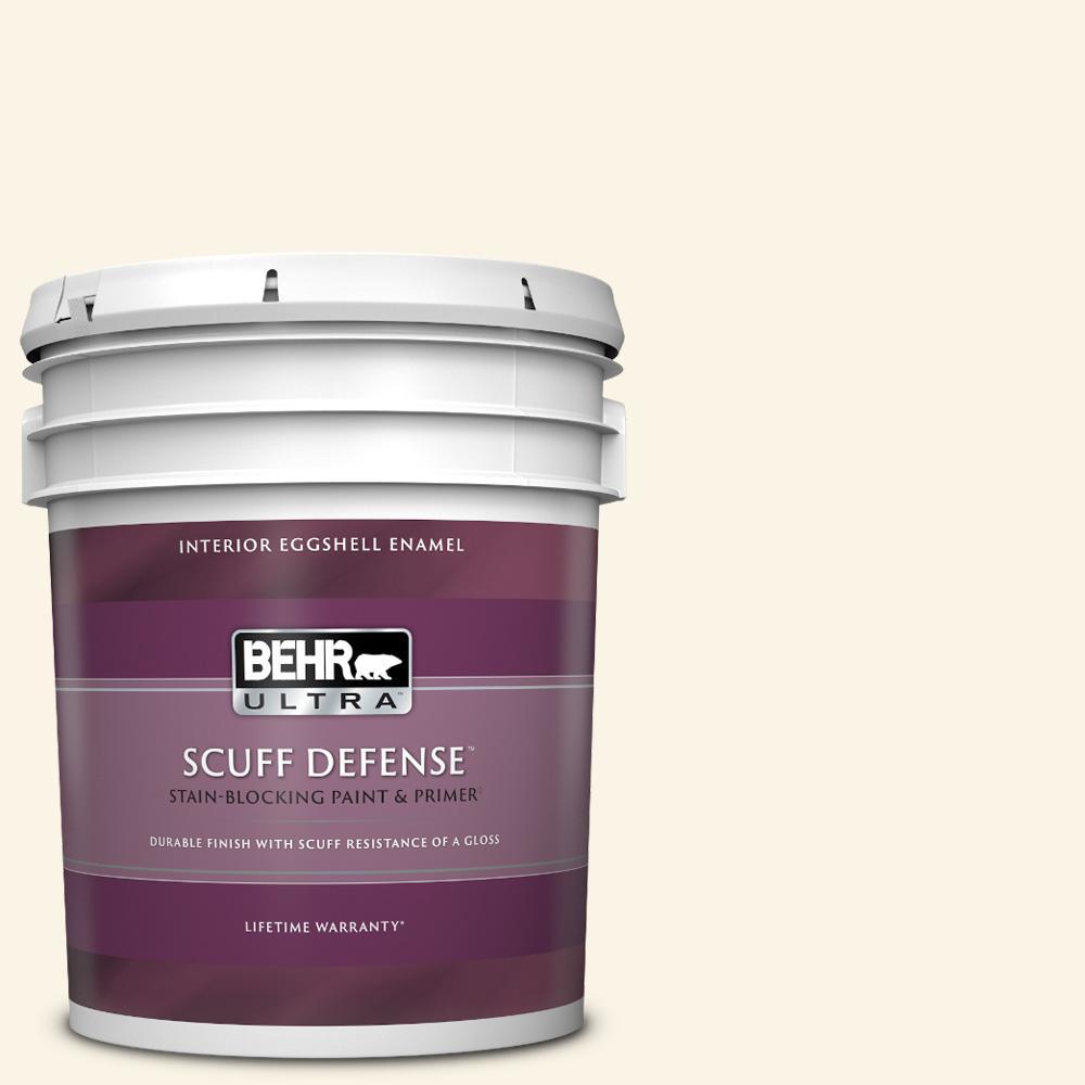 Behr Ultra 5 Gal W D 200 Pot Of Cream Extra Durable Eggshell Enamel Interior Paint Primer 275005 The Home Depot