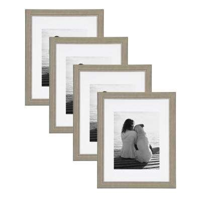 Kieva 11 in. x 14 in. Matted to 8 in. x 10 in. Gray Picture Frame (Set of 4)