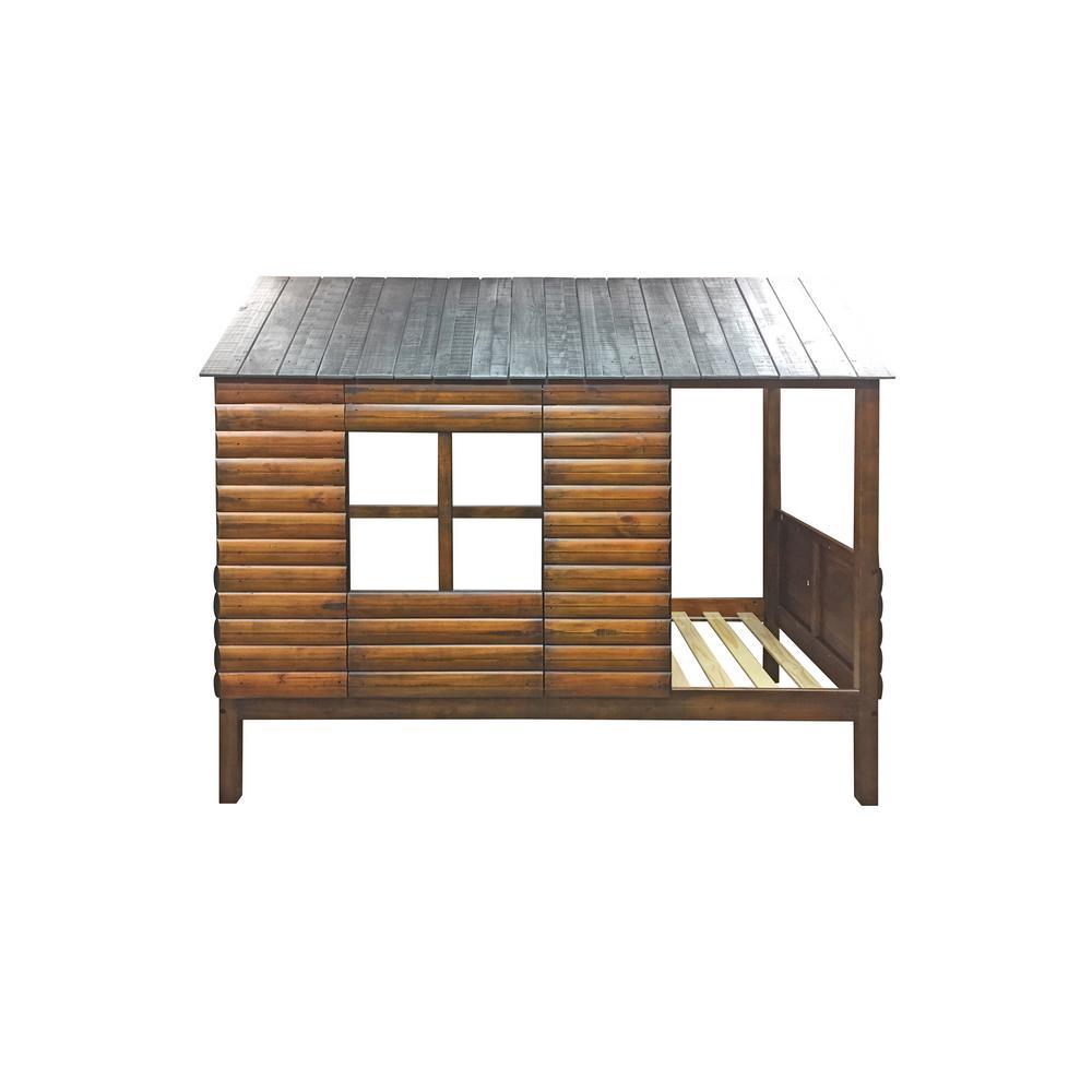 Log Cabin Rustic Walnut Twin Low Loft Bed