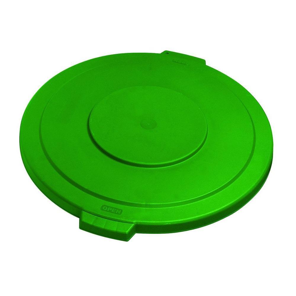 Carlisle Bronco 55 Gal. Green Round Trash Can Lid (2-Pack) by Carlisle