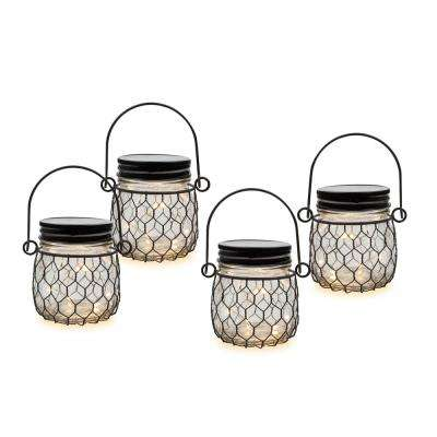 Wire Net Clear Battery Operated Mason Jar Lantern (4-Pack)