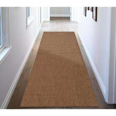Jardin Collection Solid Brown 3 ft. x 7 ft. Indoor/Outdoor Runner Rug