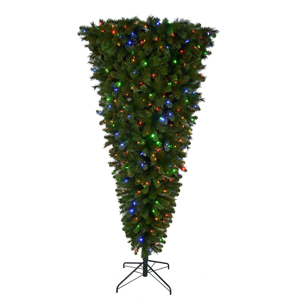 Home Accents Holiday 7 ft. Pre-Lit LED Wesley Upside Down Spruce Artificial Christmas Tree with 420 SureBright Color Changing Lights