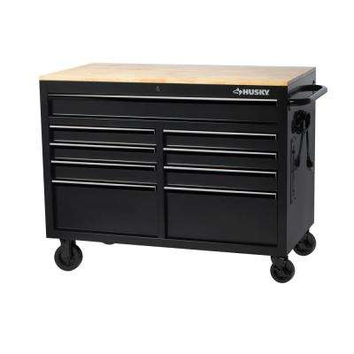 46 in. W x 24.5 in. D 9-Drawer Tool Chest Mobile Workbench with Solid Wood Top in All Black