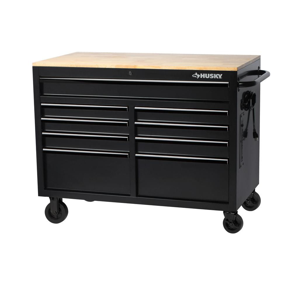 Husky 46 In W 9 Drawer Deep Tool Chest Mobile Workbench In Black With Hardwood Top H46mwc9boxd The Home Depot