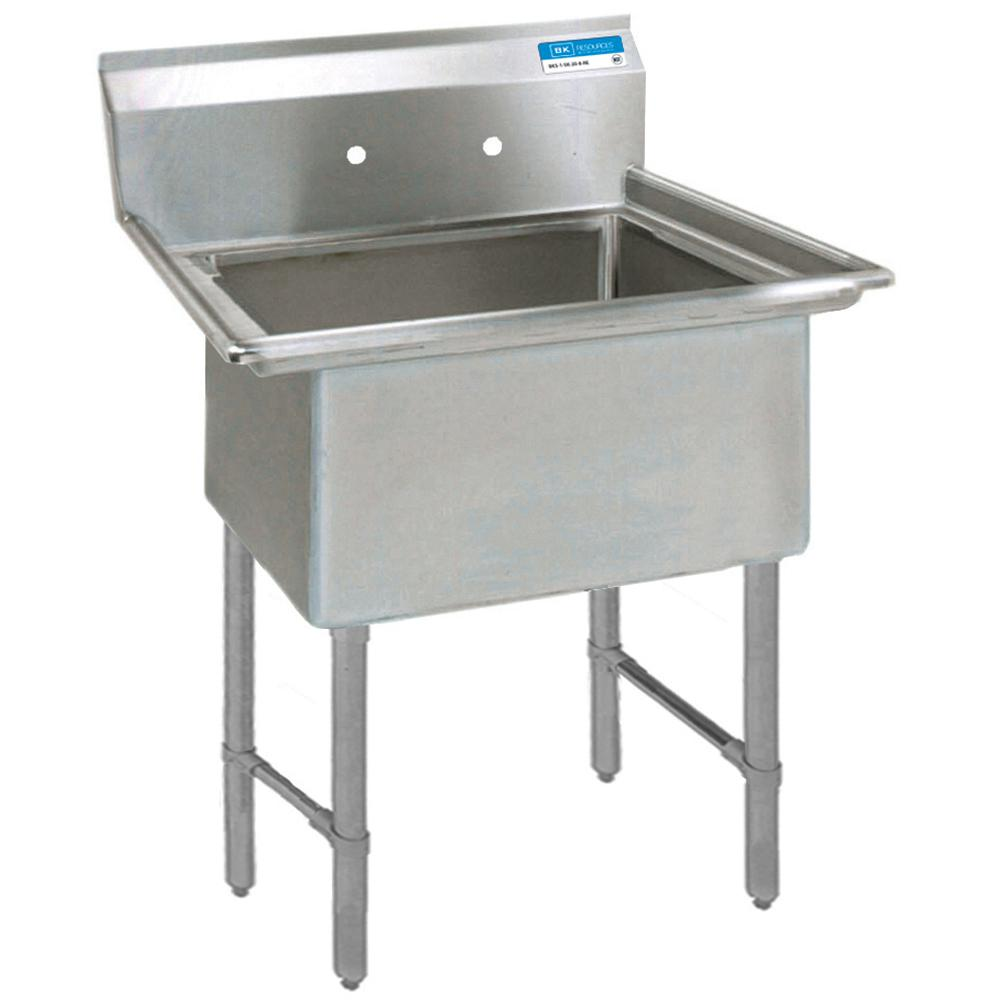 Industrial Kitchen Sink: BK Resources 16/304 Freestanding Stainless Steel 21.125 In