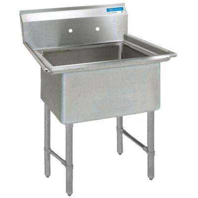 16/304 Freestanding Stainless Steel 21.125 in. Long Single Bowl Kitchen Sink with Drain