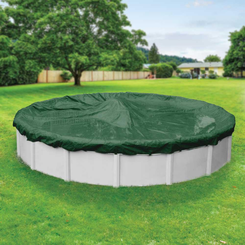 Robelle Supreme 33 ft. Round Green Solid Above Ground Winter Pool Cover