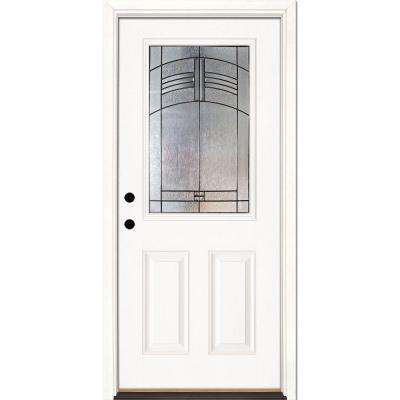 33.5 in. x 81.625 in. Rochester Patina 1/2 Lite Unfinished Smooth Right-Hand Inswing Fiberglass Prehung Front Door