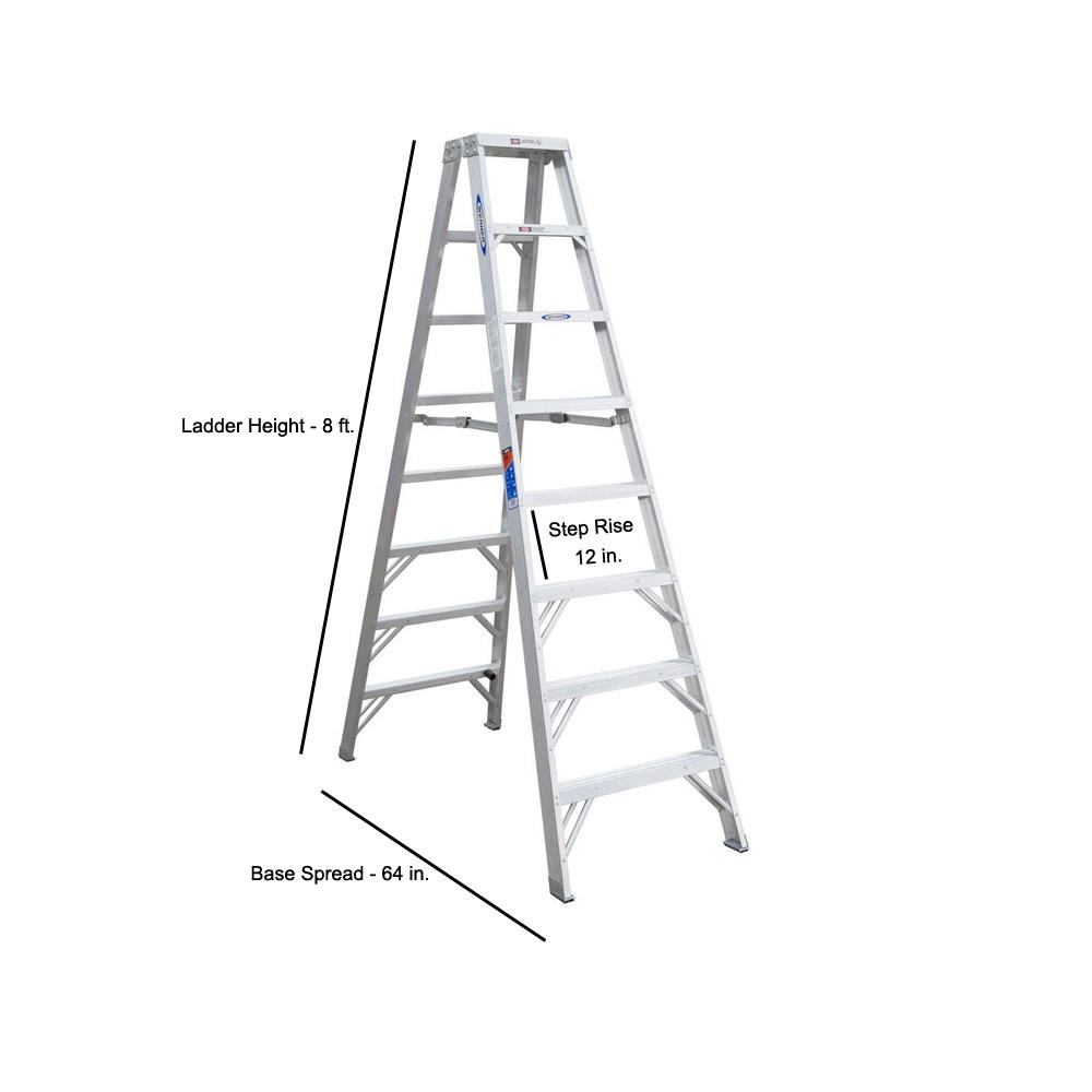 Marvelous Werner 8 Ft Aluminum Twin Step Ladder With 300 Lb Load Capacity Type Ia Duty Rating Alphanode Cool Chair Designs And Ideas Alphanodeonline