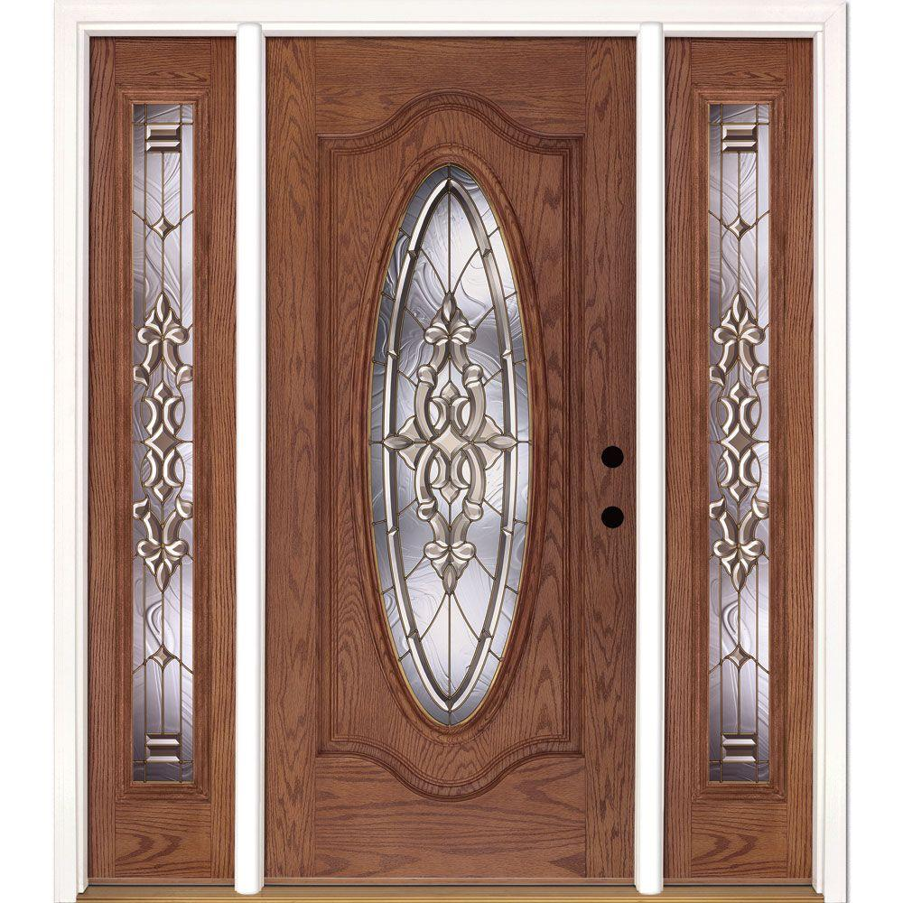 Delicieux Feather River Doors 63.5 In. X 81.625 In. Silverdale Brass Full Oval  Stained Medium