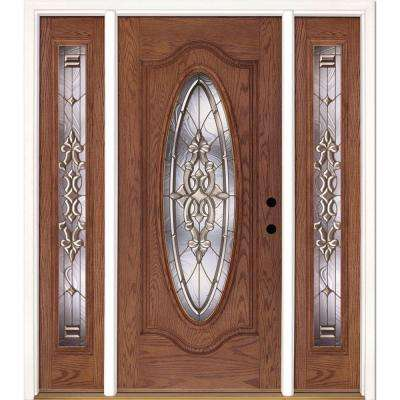 63.5 in. x 81.625 in. Silverdale Brass Full Oval Stained Medium Oak Left-Hand Fiberglass Prehung Front Door w/ Sidelites