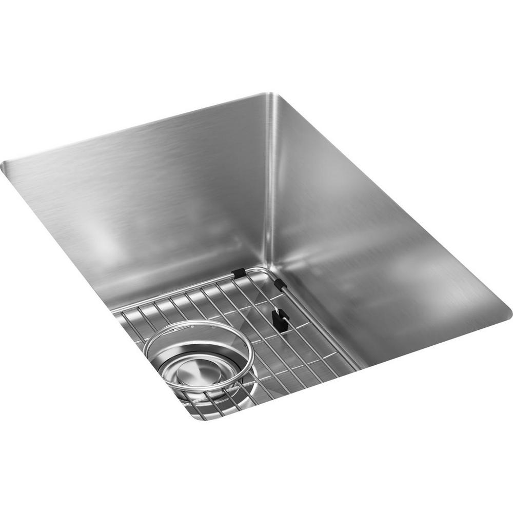 Elkay Crosstown Undermount Stainless Steel 14 In Single Bowl Bar Sink With Bottom Grid And
