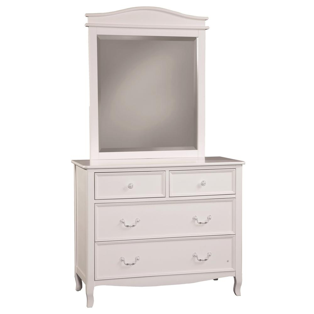 Emma 4 Drawer White Dresser And Mirror 831470500 The Home Depot