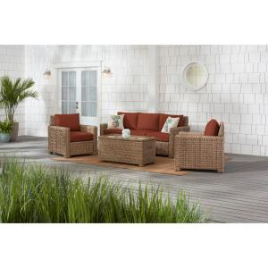 Laguna Point 4-Piece Natural Tan Wicker Outdoor Patio Conversation Seating Set with CushionGuard Quarry Red Cushions