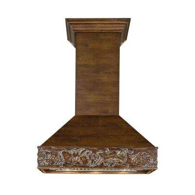 36 in. 1200 CFM Wooden Wall Mount Range Hood in Walnut