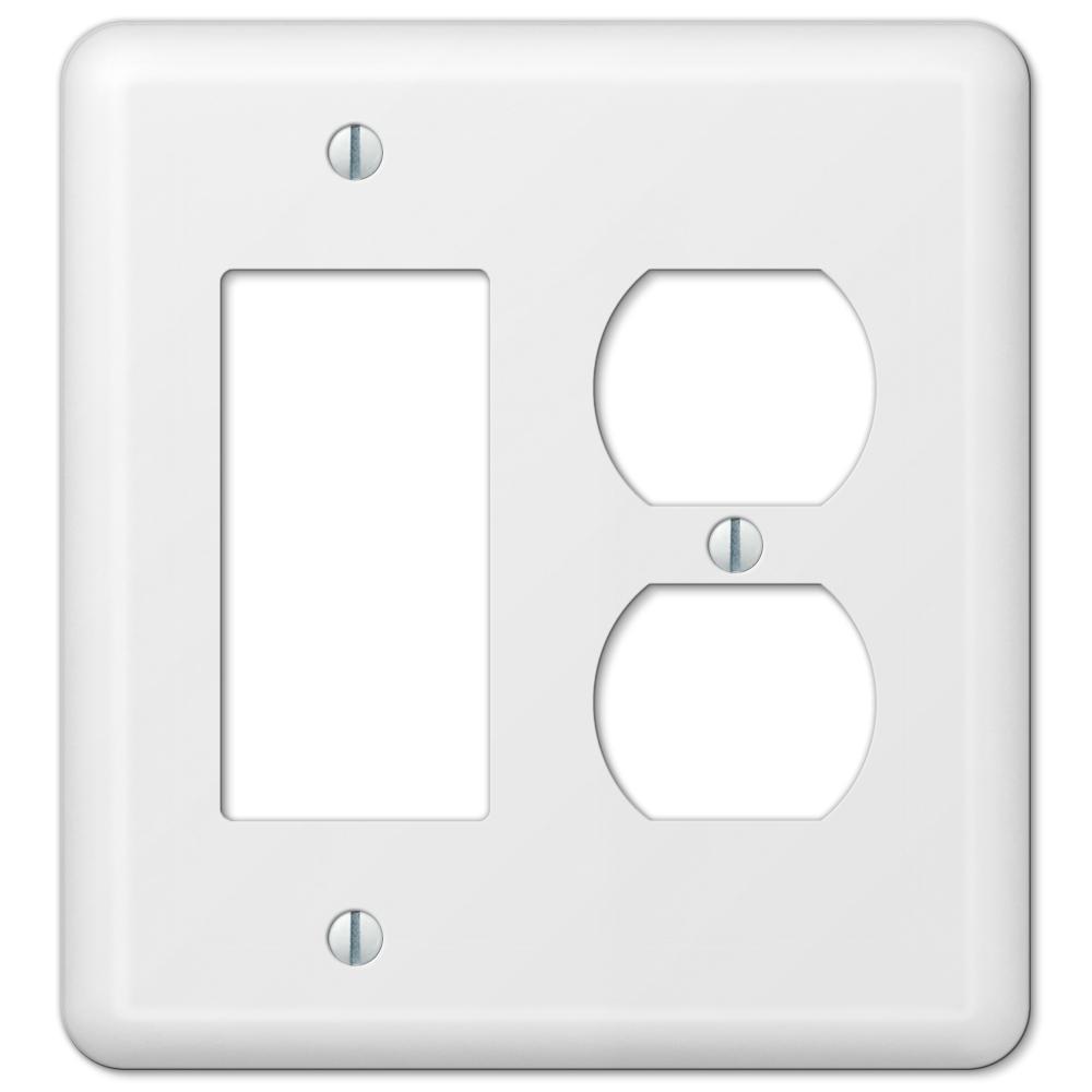 Declan 2 Gang 1-Duplex and 1-Rocker Steel Wall Plate - White