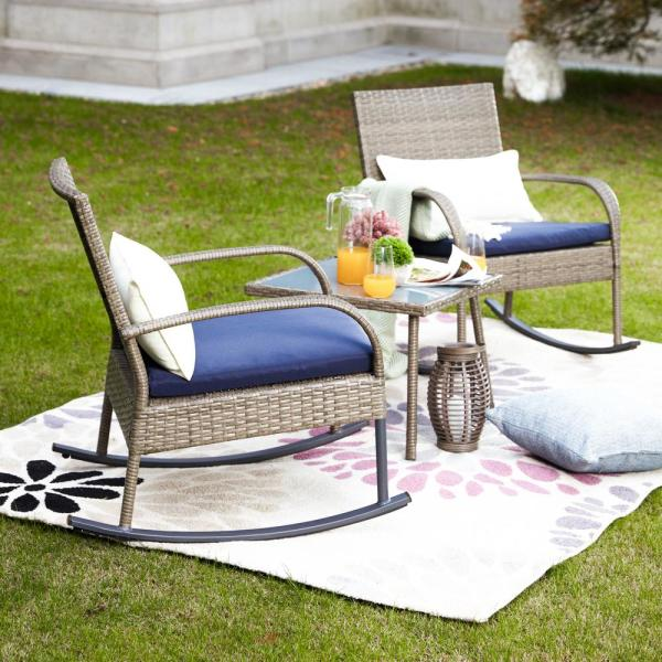Patio Festival 3 Piece Wicker Outdoor Rocking Chair Conversation Set With Blue Cushion Pf18221 B The Home Depot
