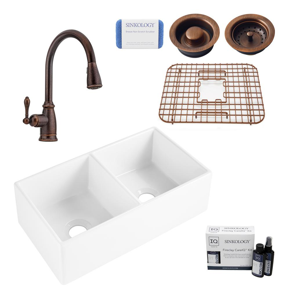 SINKOLOGY Brooks II All-in-One Farmhouse/Apron Fireclay 33 in. 50/50 Double Bowl Kitchen Sink with Pfister Faucet and Drains